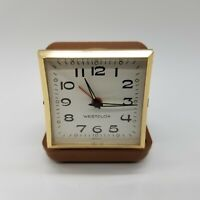 Westclox Wind Up Travel Alarm Clock in Tan Case - Tested Working, Collectible