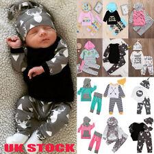 UK Newborn Girl Boy Tops + Pants Legging Bodysuit Baby Outfits Set Clothes