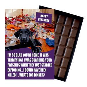 Black Labrador Birthday Card Dog Lover Gift 100g Novelty Chocolate Greeting UK