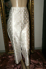 Glanz BAUMWOLLSATIN Pyjama - Hose * Negligee-Hose seidenglatt geblümt nw L/XL