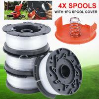 4x Spools For Black Decker Grass Trimmer Trimmer Line Spool Set W/ Cap & Spring