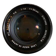 Minolta MC Rokkor-X PG 50mm F/1.4 Prime Lens Made in Japan - Excellent Cond.