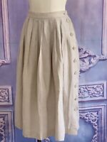 Vintage 80s Natural Linen Side Button Pleated Midi Skirt XS/2 Farmers Market