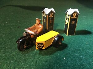 Meccano AA patrol motor cycle and side car 44B plus 2 Diecast AA Boxes