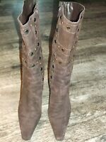 ANTONIO MELANI SUEDE LEATHER BOOTS womens sz 8 M  BROWN  EMBELLISHED heels nice