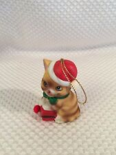 Vtg. Christmas Cat Ornament Hand-Painted Holiday Friend Bisque Porcelain Bell