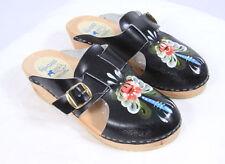 DALA CLOGS Hand Painted Floral Black Leather Wood Mule Shoes Womens EU 36 US 5