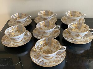 Grosvenor England Inverness Pattern 9709 Footed Cups and Saucers Set of 7