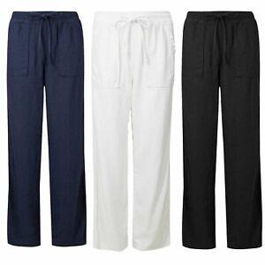 Ex M&S Linen Rich Trousers Elasticated Waist Navy White Black - 1