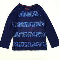 Girls Sequin Stripe T-Shirt Long Sleeve Top New Ex Boden Age 3-14 Years RRP £20