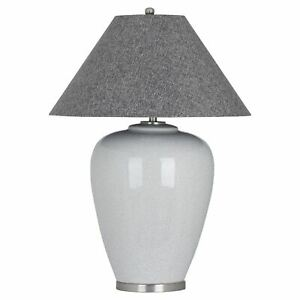 The Agustus Extra Large Grey Crackle Ceramic Table Lamp