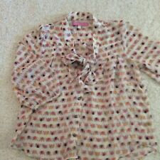 Under Skies Womens Shirt Size Small Elephant Print Button Front Bow Tie