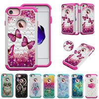 Bling diamonds Shockproof cartoon 2in1 hard & soft hybrid back phone case cover#