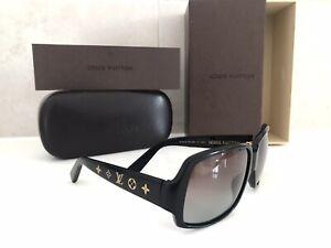 Genuine Louis Vuitton Black & Gold LV Monogram Sunglasses With Case & Box NO RES