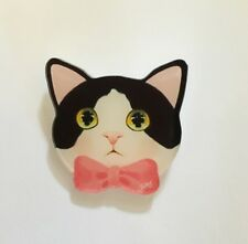 Funky Quirky Black Tabby Cute Cat Gentleman Ribbon Shabby Chic Quirky Brooch