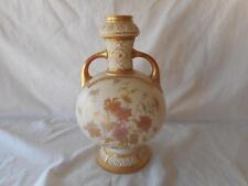 Royal Worcester Large Pink Brown Gold Floral Double Handled Vase #1034 C 1889
