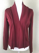 Elie Tahari Womens Sweater Red Merino Wool Knit Trimming V-Neck Size Small