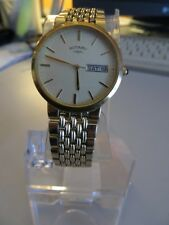 Stylish Rotary Swiss-made men's gold wrist watch with real sapphire on winder