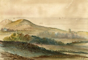 M. Conway, Beacon Hill & Beeston Bump, Norfolk – c.1880s watercolour painting