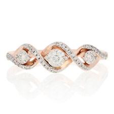 18ctw Round Brilliant Diamond Ring - 10k Rose Gold Three-Stone Twist