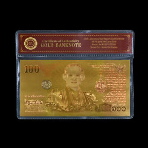 WR Thailand 100 Baht Gold Banknote 7 Cycle 84 Years The King' s Birthday Note