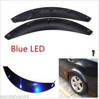 2 Pcs Black Car Truck Wheel Eyebrow Trim Strips Fender Protector With 5 Blue LED