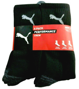 PUMA Mens Terry Crew Socks 6 Pack Black 10-13 Athletic Performance Sport Cushion