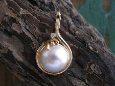 Vintage Estate Round Mabe Pearl, 14k Gold and Diamond Enhancer Pendant