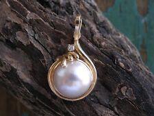 Vintage Estate Round Mabe Pearl, 14k Gold and Diamond Enhancer Pendant