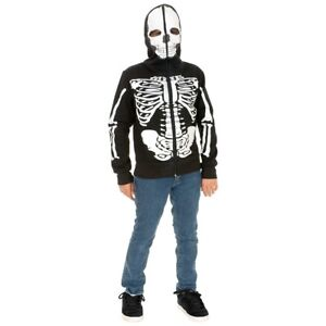 Skeleton Hoodie Kids Halloween Costume Zipperhead Zip Up Fancy dress