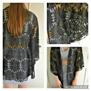 BOOHOO black lace kimono jacket - Size M 12/14