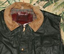 Mens WOOLRICH Green Waxed Wool Lined Full Zip Vest Large L