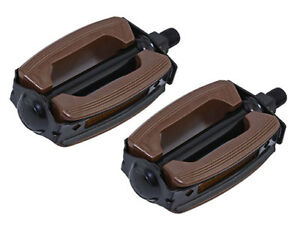 """New! Original Bicycle Krate Rubber Pedals 1/2"""" In Brown/Black."""