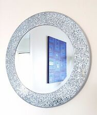 Round silver mosaic wall mirror, hand made, pretty cracked mosaic style 40cm-NEW