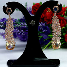 NATURAL YELLOW CITRINE BLUE SAPPHIRE & CZ LONG EARRINGS 925 STERLING SILVER