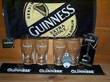 GUINNESS 4 GRAVITY PINT GLASSES BAR MAT SPOON OPENER BAR TOWEL SET NEW