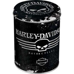 Vintage, Rétro Harley Davidson Moto Can Étain Boite Boîte Crâne Motard 006-D