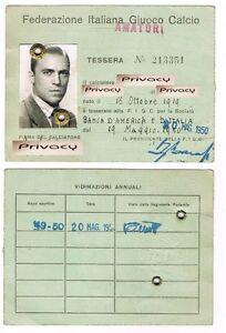 Tessera Federazione Italiana Gioco Calcio (FIGC) - 1950
