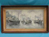 SIGNED HUGE EARLY 20 c Walter WURST  HARBOR SCENE SIGNED OIL PAINTING