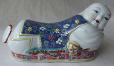 "Cute Vintage Chinese Ceramic Porcelain Reclining Boy Pillow Chopsticks Rest 6"" L"
