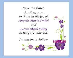 100 Personalized Custom Purple Daisy Bridal Wedding Save The Date Cards