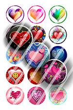 Pre-Cut Bottle Cap Images Hearts 1 Collage Sheet R164 - 1 Inch Circles