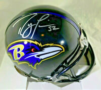 RAY LEWIS / NFL HALL OF FAME / AUTOGRAPHED BALTIMORE RAVENS MINI HELMET / COA