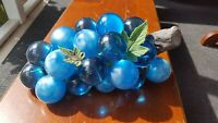 Vintage MCM Lucite Grape Cluster Aqua Teal Blue and Pearlized Blue Large