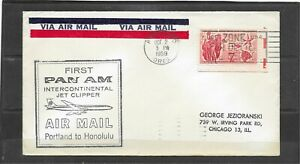 1959 First Pan Am Intercontinental Jet Clipper Flight Cover, Portland - Honolulu
