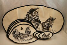 Zimbabwe Zebra Place Mates Coasters Center Piece 9 Psc Dinning Table Home Décor