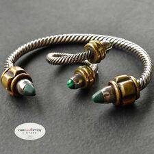 *Vintage SUPERB 80's Taxco 925 Silver Brass Malachite Twisted BRACELET RING Set