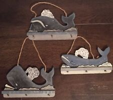 Wooden Whale Wall Hanging Distressed Deco Handmade Set!