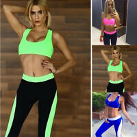 Women's Gym Fitness Top Leggings Running Sports Yoga Workout Wear Tracksuit Vest