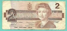 New listing Canadian two dollar paper currency, 1986, Ebs, Well Worn, Folded & 1 Tear